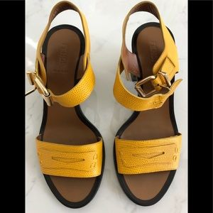 FENDI   Yellow Antiope Embossed Leather Sandals